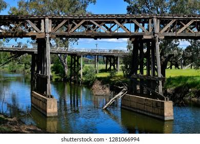 Australia, NSW, old railway bridge and historic Prince Alfred bridge behind