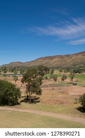 Australia, NT, Alice Springs. View of Alice Springs overlooking the golf course.
