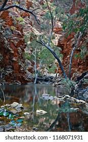Australia, NT, waterhole in Serpentine Gorge in West McDonnell Range national park