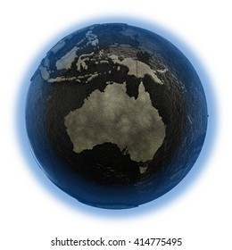 Australia on 3D model of planet Earth with black oily oceans and concrete continents with embossed countries. Concept of petroleum industry. 3D illustration isolated on white background.