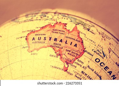 Australia  on atlas world map