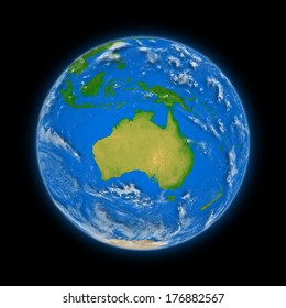 Australia on blue planet Earth isolated on black background. Highly detailed planet surface. Elements of this image furnished by NASA.