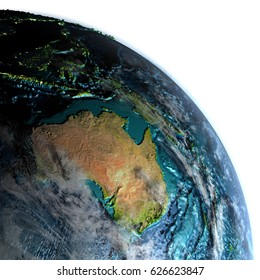 Australia on Earth with detailed planet surface and visible city lights. 3D illustration with white background. Elements of this image furnished by NASA.