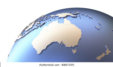 Australia on metallic model of planet Earth with embossed continents and visible country borders. 3D rendering.