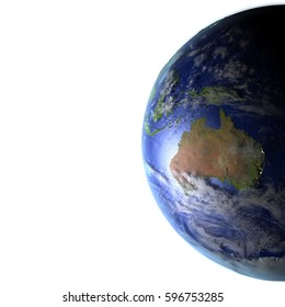 Australia on model of Earth. 3D illustration with realistic planet surface and visible city lights. Blank space for your copy on the left side. Elements of this image furnished by NASA.