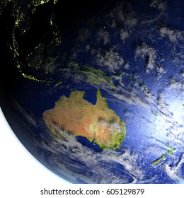 Australia on model of Earth. 3D illustration with realistic planet surface and visible city lights. Elements of this image furnished by NASA.