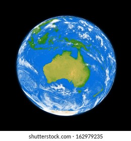 Australia on planet Earth isolated on black background. Elements of this image furnished by NASA.
