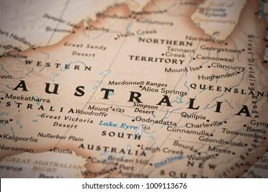 Australia on a world map.
