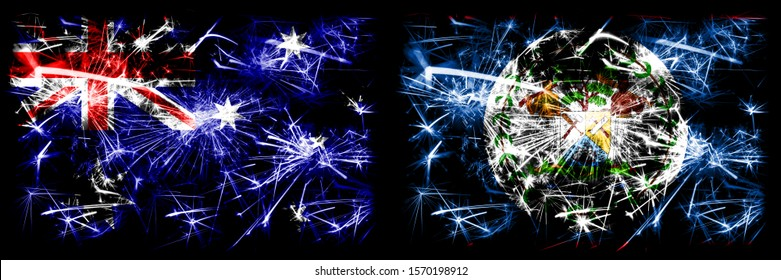 Australia, Ozzie vs Belize, Belizean New Year celebration sparkling fireworks flags concept background. Combination of two abstract states flags.