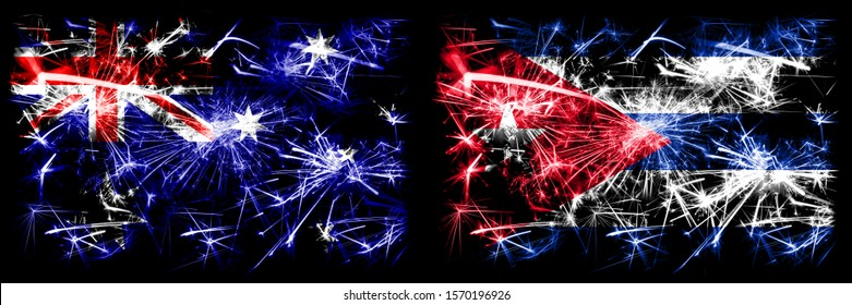 Australia, Ozzie vs Cuba, Cuban New Year celebration sparkling fireworks flags concept background. Combination of two abstract states flags.