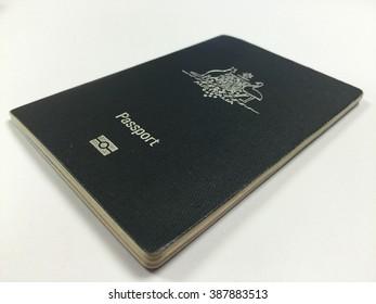 Australia passport book on white background