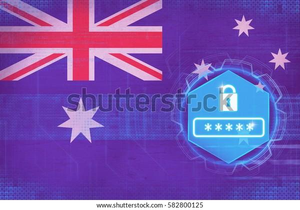 Australia password protection. Network defense concept.