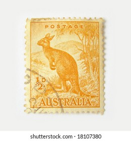 Australia postage stamp with kangaroo on white background