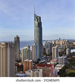 AUstralia Queensland gold coast surfers paradise cityscape aerial view on landmark city with Q1 tower of skyscraper against ocean