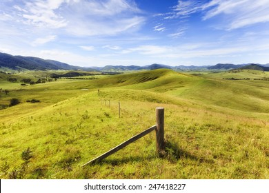 Australia regional NSW rural landscape of grazing cultivated agricultural land in Barrington tops region developed for cattle growing