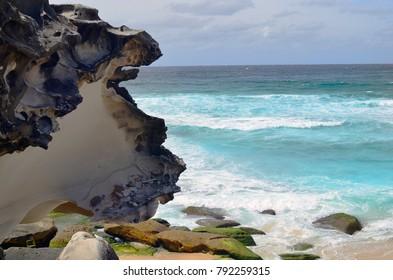 Australia, sea, waves and rocks on Tamarama beach