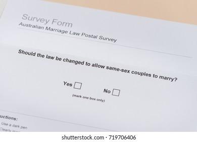 AUSTRALIA - September 2017: ballot of Australian Gay Marriage postal survey, with yes box checked