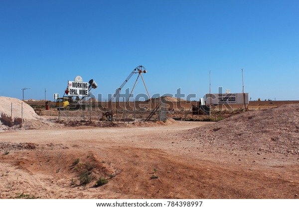 AUSTRALIA, SOUTH AUSTRALIA, COOBER PEDY, STUART HIGHWAY, AUGUST 11, 2016: Working Opal Mine in Coober Pedy, Australia