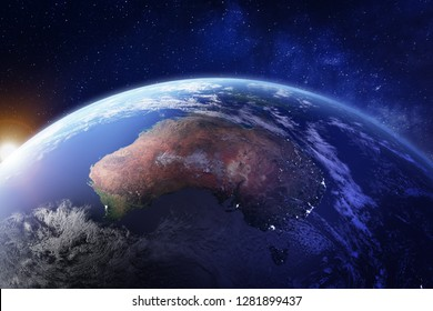 Australia from space at night with city lights of Sydney, Melbourne and Brisbane, view of Oceania, Australian desert, communication technology, 3d render of planet Earth, elements from NASA