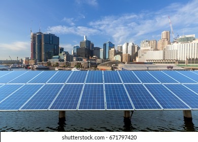 Australia, Sydney, the combination of urban architecture and solar panels