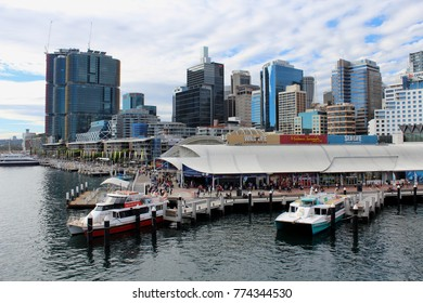 AUSTRALIA, SYDNEY, DARLING HARBOUR, JULY 31, 2016: Sea Life Sydney Aquarium,  Wild Life Sydney Zoo and Madame Tussauds Sydney are located on the city side of Darling Harbour
