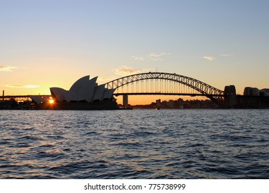 AUSTRALIA, SYDNEY, JULY 31, 2016: View at sunset from Mrs Macquarie's Chair to the Harbour Bridge and Opera House