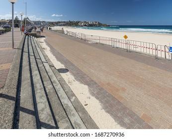 AUSTRALIA, SYDNEY - March 27, 2020: Empty Bondi Beach. Sydney beached closed because of coronavirus until further notice.