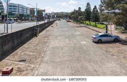 AUSTRALIA, SYDNEY - March 27, 2020: Empty Bondi Beach car park. Sydney beached closed because of coronavirus until further notice.