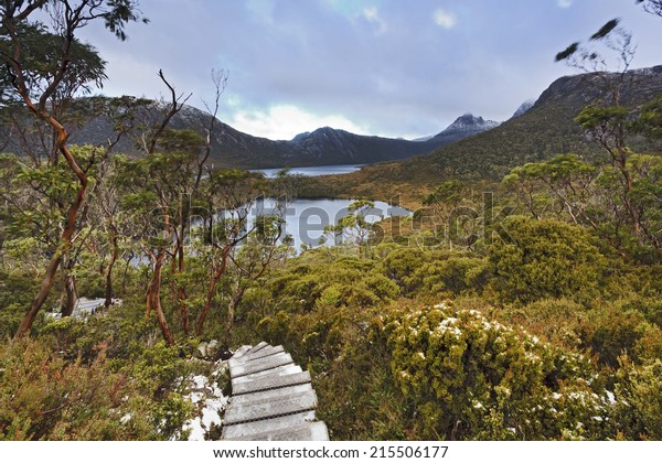 Australia Tasmania Mt Cradle Lake Dove national park overland track to Wombat pool wooden way covered in snow with lakes below and distant Cradle Mountain