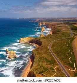 Australia. Twelve Apostles. Great Ocean Road. View from helicopter