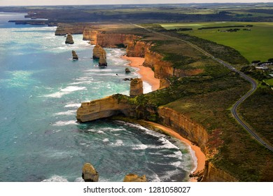 Australia, VIC, aerial view from Twelve Apostles in Port Campbell national park on Great Ocean Road, preferred tourist attraction and travel destination,