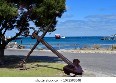 Australia, vintage anchor and ferry on harbor in Rottnest Island