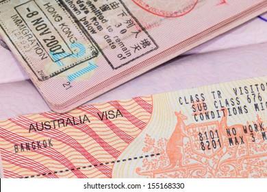 Australia visa in passport macro