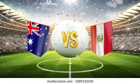 Australia vs Peru. Soccer concept. White soccer ball with the flag in the stadium, 2018. 3d render