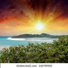 Australia. Wonderful sunset colors over Whitsunday Islands.