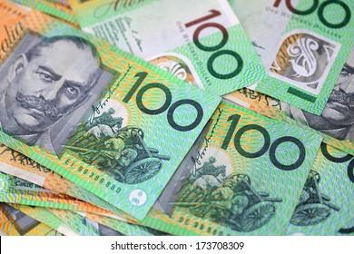 Australian 100 dollar notes closeup.