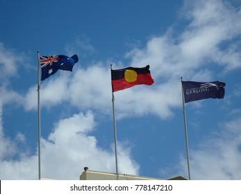 Australian and abborginal flags in Geelong