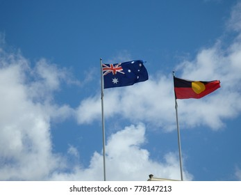 Australian and aboriginal flags in Geelong