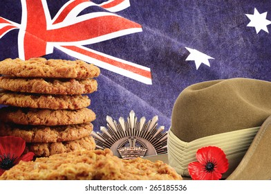 Australian Anzac Day collage with four images and applied retro grunge and vintage style grain filters.