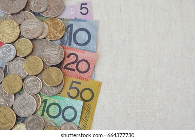 Australian AUD money with copy space background