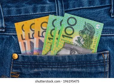 Australian Bank notes in jeans pocket