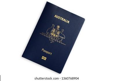 Australian blue biometric passport isolated on white background