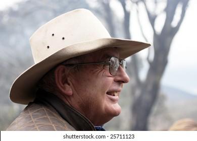 Australian Bushman in an Akubra hat in the wild outback