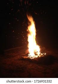 Australian camp fire in the dessert