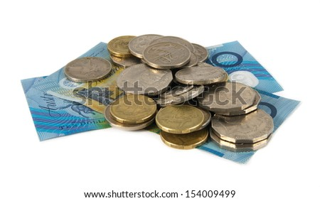 australian cash and coins over white
