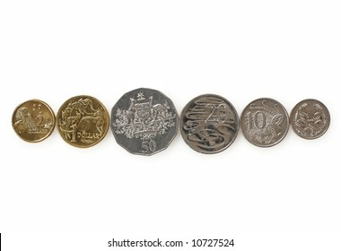 Australian coins, on white.  This is the whole range of Australian coins in general circulation.