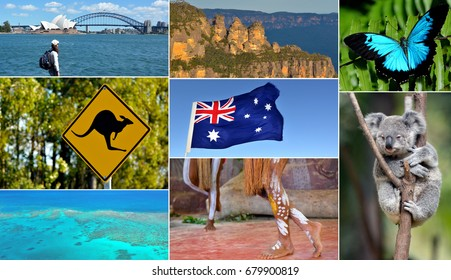 Australian collage. Travel Australia postcard background.