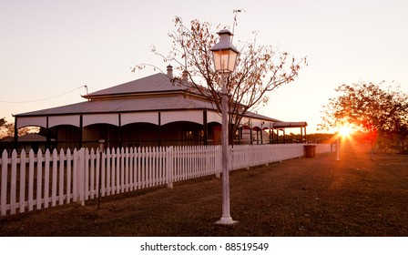 Australian country house during sunset