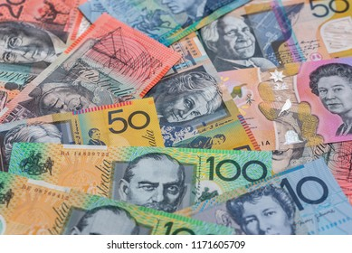 Australian dollar banknotes used as background, closeup