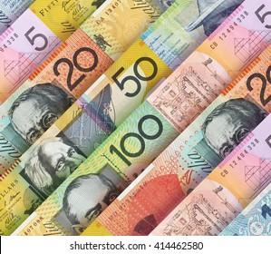 Australian Dollar bills creating a colorful background